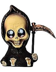 thorityau Grim Reaper Doll, Schattige hars Grim Reaper Standbeeld,Miniatuur Grim Reaper Beeldjes Met Scythe, Horror Hars Ornament Gothic Hars Desktop Beeldje Skelet Goth Horror Decor