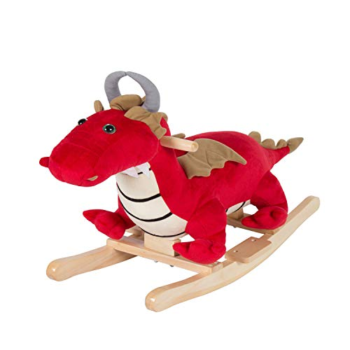 Rocker Rocking Horse (Kinbor Kids Plush Rocking Horse Rocker Horse Toy Child Rocking Horse Dinosaur for Children's Day Birthday Gift W/ Nursery Rhymes)