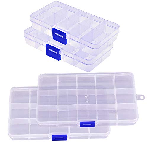 4PCS Plastic Tray, 2x10 2x15 Grids Bead Organizer With Movable Dividers Storage- Adjustable Clear Compartment Plastic Organizer-Travel Organizer Box, Small Parts Organizer For Beads, Jewlery, Rings