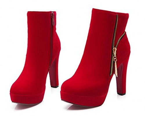 Aisun Kvinna Eleganta Chunky Hög Klack Boots Röd