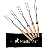 MalloMe Marshmallow Roasting Smores Sticks - Camping Accessories for Campfire Fire Pit Cooking Set of 5