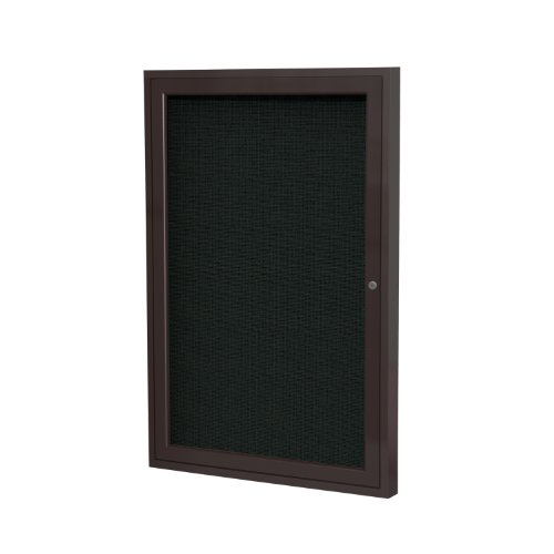 "1 Door Enclosed Bulletin Board Size: 2' H x 1'6"" W, Frame Finish: Bronze, Surface Color: Black supplier"