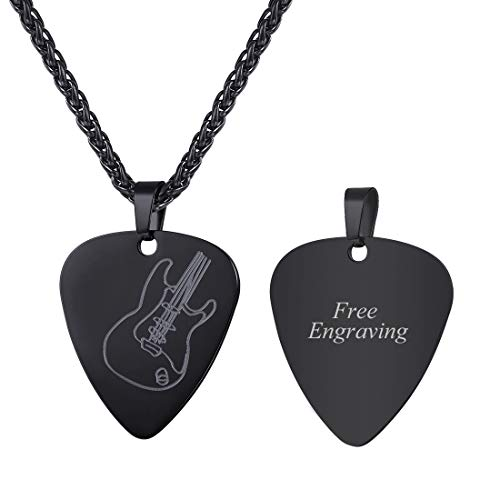 U7 Men Women Guitar Pick Necklace with Adjustable Chain Ion-Plating Black Stainless Steel Music Jewelry Personalized Pendant Gift, Custom Free Message Engrave Back Side