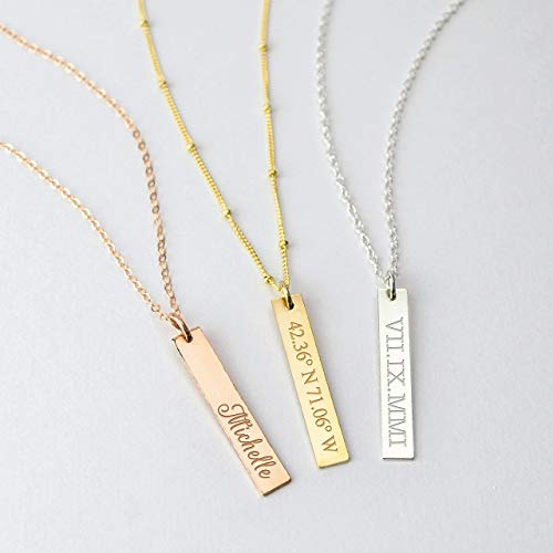 Personalized Pendant Bar Necklace Engraved with a Name, Date, Coordinates, Gold Filled or Sterling Silver Bar Necklace, Engraving Both Sides, VERT5x30 - Date Sterling Silver Necklace
