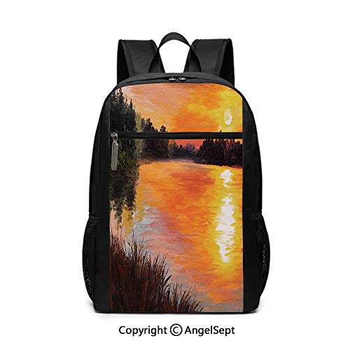 Middle School Backpack,Lake Forest at Sunset Abstract Art Impressionism Style,Orange Dark Green and Chesnut Brown,6.5