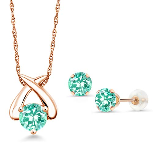 Gem Stone King 1.81 Ct Round Blue Apatite 10K Rose Gold Pendant Earrings Set