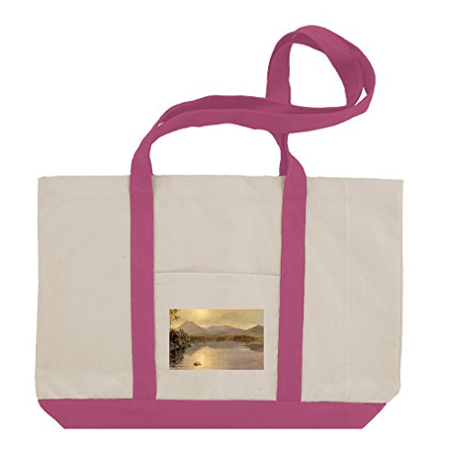 Lake Katahdin Maine (Church) Cotton Canvas Boat Tote Bag Tote - Hot Pink by Style in Print