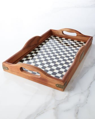 MacKenzie-Childs Courtly Check Wooden Hostess Tray - Large