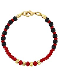 18k Gold Plated Evil Eye Baby Bracelet Protection Black Red Beads 5""