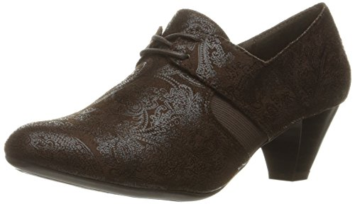 Soft Style by Hush Puppies Women's Gretel Dress Pump, Dark Brown Paisley Faux Suede, 6.5 2E US