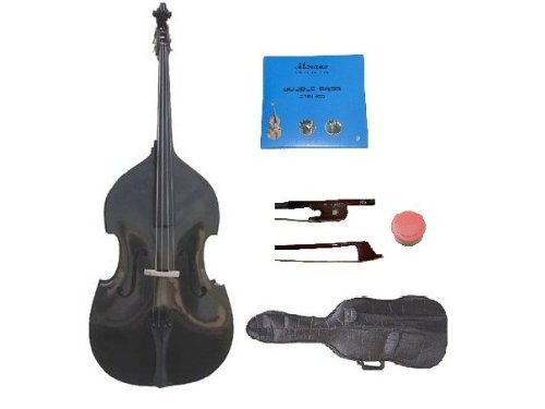 GRACE 3/4 Size Black Upright Double Bass with Bag,Bow,Bridge+2 Sets Strings+Rosin by Grace