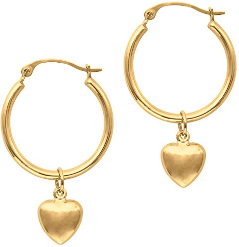 (14K Yellow Gold Polished Round Hoop Earrings w/ Puff Heart)