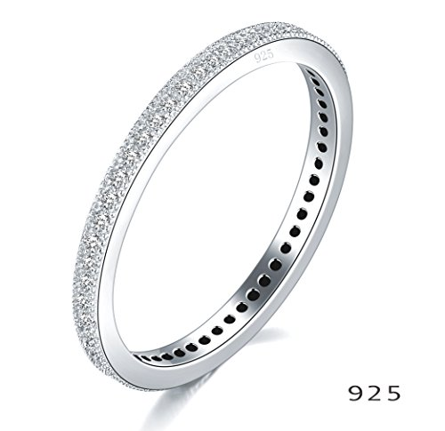 2MM 925 Sterling Silver Ring, Boruo Cubic Zirconia CZ Wedding Band Stackable Ring Size 8