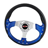 Rxmotor 320MM 6 Bolts JDM Horn Button Steering Wheel Universal Fit Not Include Hub Adapter (BLUE)