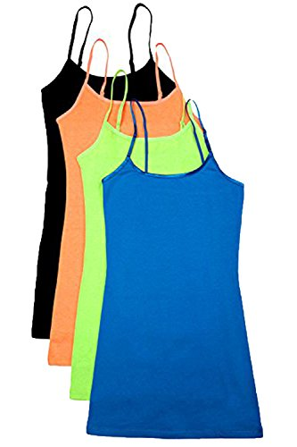 - 4 Pack: Active Basic Cami Tanks (Medium, Black/N.Lime/N.Orange/Blue)