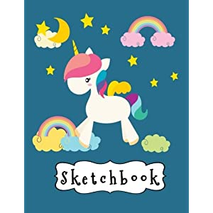 Sketchbook: Cute White Unicorn & Rainbow On Blue Background, Large Blank Sketchbook For Girls, 110 Pages, 8.5″ x 11″, For Drawing, Sketching, Pencil & Crayon Coloring (Unicorn Pictures)