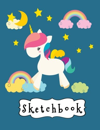 "Sketchbook: Cute White Unicorn & Rainbow On Blue Background, Large Blank Sketchbook For Girls, 110 Pages, 8.5"" x 11"", For Drawing, Sketching, Pencil & Crayon Coloring (Unicorn Pictures) 3"