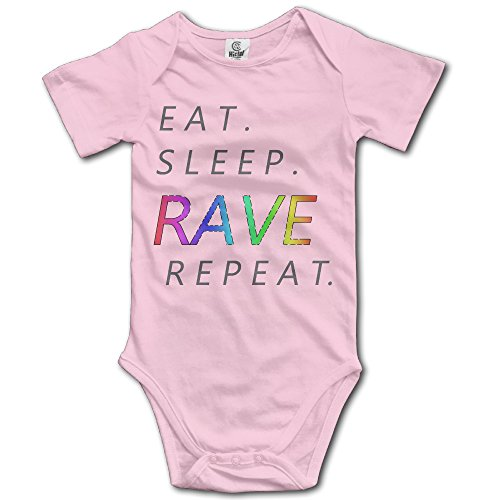 100% Cotton Eat Sleep Rave Repeat Infant Funny Go Short Sleeve Climb Jumpsuit Pink 24 Months