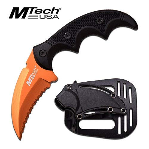 MTech USA Fixed Blade Tactical Knife G10 Texture Handle with Holster 2 Inch Blade (ORANGE) ()