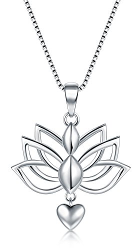 BORUO Sterling Silver Necklaces, 925 Silver Necklaces with Pendant Lotus Flower Yoga Heart Box Chain for Women Charm Jewelry