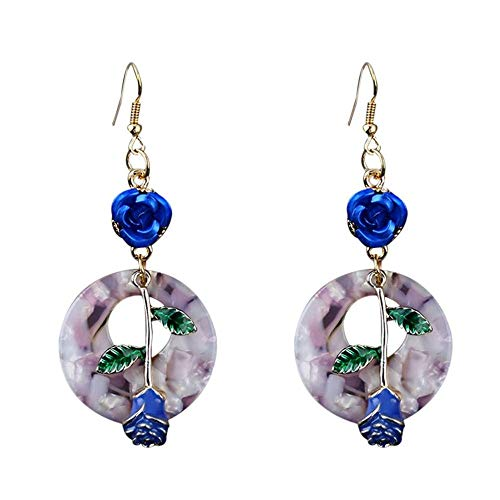 Bohemian Blue Rose Flower Statement Drop Dangle Earrings Signature Round Acrylic with Gold Plated Ear Hook Acrylic Gold Plated Earrings