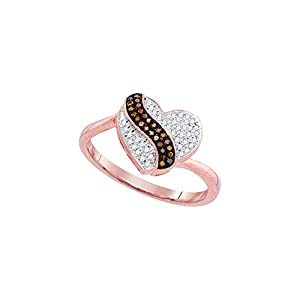 10kt Rose Gold Womens Round Red Colored Diamond Heart Stripe Cluster Ring 1/6 Cttw