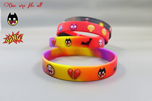 Cartoon Emoji Silicon Wristbands for Any Age Group (Quality 6-Pack) | Only Set in the Market | High-Quality Print | Smooth Rubber Bracelets | Vibrant Emoticons | Party Supplies | (Cheap Silicone Wristbands)