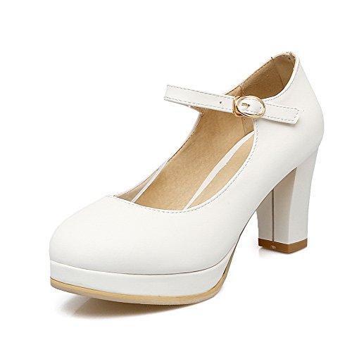 BalaMasa Womens Buckle Chunky Heels Platform Microfiber Pumps Shoes White 7qCd96l8