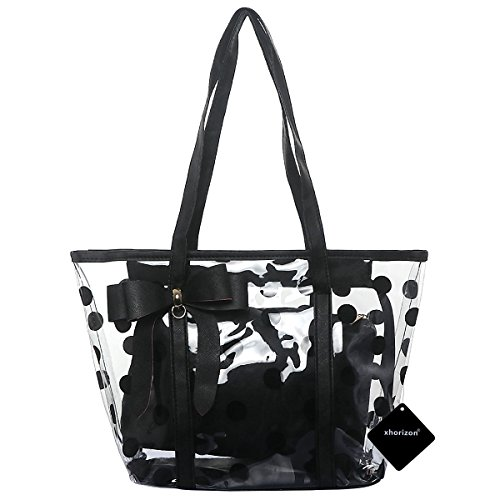 xhorizon FL1 Women Clear Tote Bag Purse Work Bag Waterproof Travel Bag Beach Handbag Gym Sports Bag (Black)