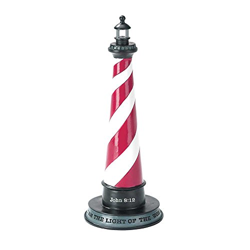 Lighthouse Light of the World Candy Stripe 7.5 inch Resin Stone Table Top Cross Figurine