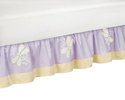 Sweet Jojo Designs Toddler Bed Skirt - Purple Dragonfly (Dragonfly Dreams Toddler Bedding)