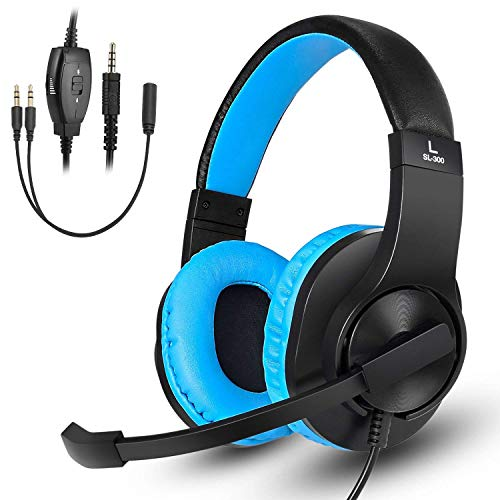 Gaming Headset for Xbox One, PS4, Nintendo Switch, DIWUER Stereo Bass Surround Noise Cancelling Over Ear Headphones with Flexible Mic for Laptop PC iPad Smartphones (Blue)