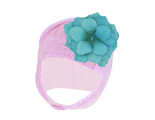 Pale Pink Blossom Bonnet with Teal Small Rose, Size: (Pale Blossom Apparel)
