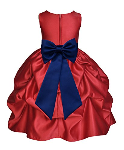 Apple Red Satin Bubble Pick-Up Junior Flower Girl Dress Holiday Dresses 208T 4