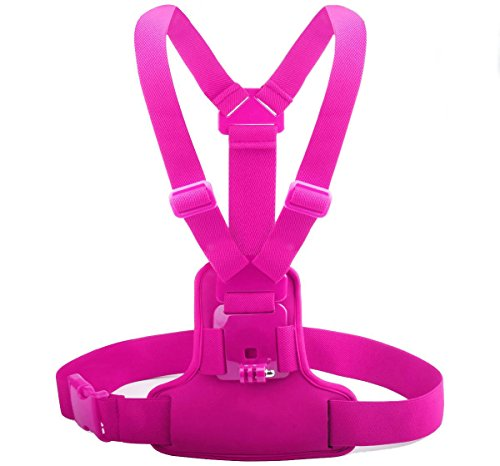 Megagear Chest Strap Extreme Sports for GoPro, GoPro HD, GoPro Hero 3+, HERO 4, HERO 5 Black, HERO 6 Black, Sj4000, Sj5000 (Hot Pink) by MegaGear