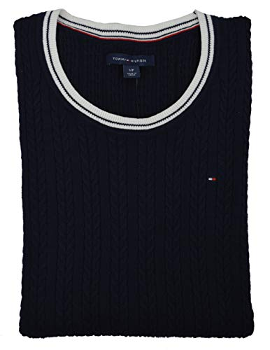 Tommy Hilfiger Womens Cable Knit Cotton Logo Sweater, Navy (S)