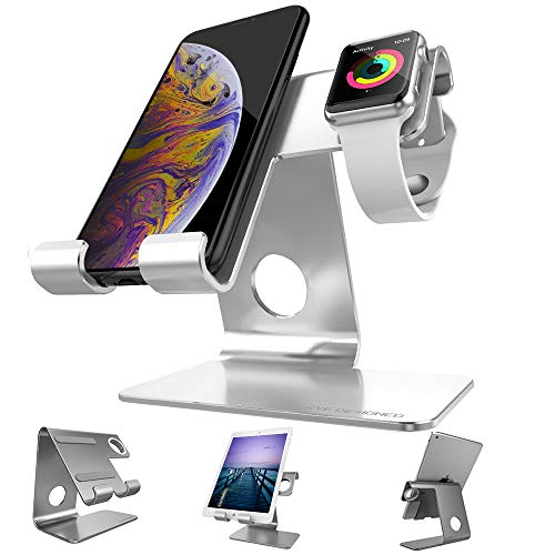ZVEproof Apple Watch Stand 2 in 1 Universal Desktop Cellphone Stand and Apple Watch Stand (Silver,...