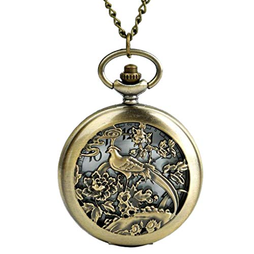 (CliPons Vintage Peacock Phoenix Bird Flowers Pendant Necklace Women Quartz Pocket Watch Locket Necklaces)