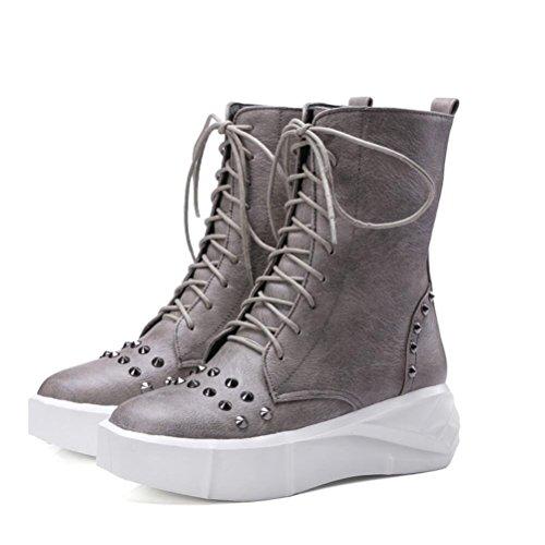Ei&iLI Printemps des femmes / automne / hiver Bootie similicuir PU montantes lacets chaussures plate-forme Rivets moto bottes Casual Outdoor , gray , 36