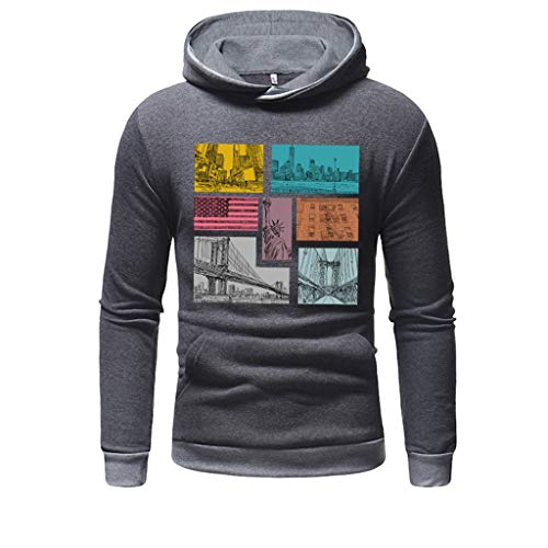 GREFER Sweatshirts for Men Hoodie 3D - Men's Long Sleeve Warm Outwear - Casual Solid Slim Fit T-Shirts Tops Dark Gray