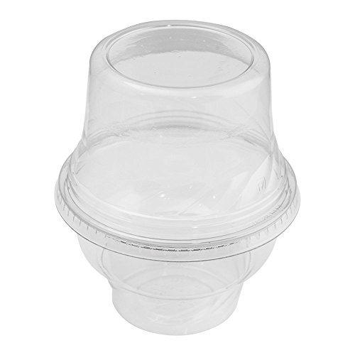 8 oz Clear Plastic Ice Cream Sundae Cups, Holds Several Scoops of Your Favorite Frozen Dessert, Perfect Cups For On The Go Eating, Perfect for Ice Cream, Yogurt, Snacks and Other Delicious Treats by Frozen Dessert Supplies (Image #1)