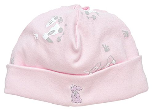 Under the Nile Baby Girl Beanie Size 0-3M Pink Bunny Print Organic Cotton (Brim Basic Beanie)