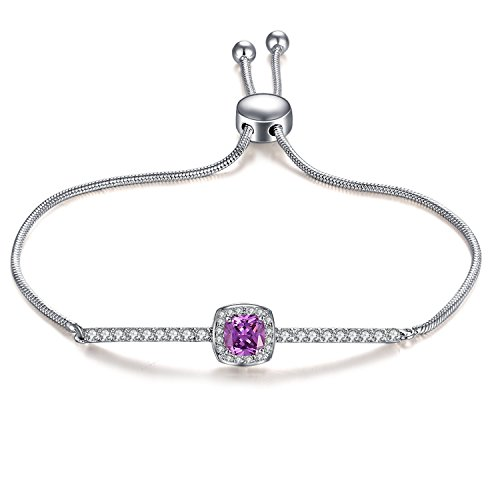 GuqiGuli White Gold Plated Cushion-Cut Created Amethyst Gemstone Bolo Bracelet for Women, ()