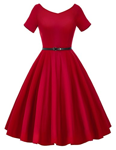 V-Back Pin Up Dress with Belt Short Sleeve Knee Length Size XL BP097-2 (Vintage Vneck Dress)