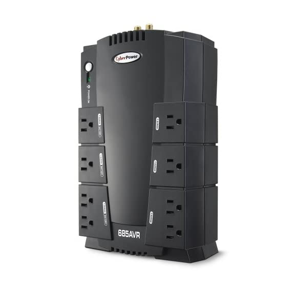 CyberPower AVR Series UPS 1 685VA/390W AVR Battery Backup Uninterruptible Power Supply (UPS) System uses simulated sinewave technology to provide battery backup power protection and surge protection for desktop computers and personal electronics 8 NEMA 5-15R OUTLETS: (4) BATTERY BACKUP AND SURGE PROTECTED OUTLETS - (4) SURGE PROTECTED  OUTLETS, INPUT: Plug Type 15A NEMA 5-15P 6 FT Cord Plug Style- 45 Degree Flush AUTOMATIC VOLTAGE REGULATION (AVR): Corrects minor power fluctuations without switching to battery power, thereby extending the UPS' battery life