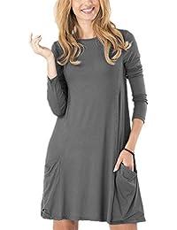 Women's Casual Pockets Plain Tunic T-Shirt Dress