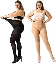 MANZI 2 Pairs Women's Control Top Plus Size Pantyhose Opaque Sheer Ti