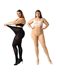MANZI 2 Pairs Women's Control Top Plus Size Pantyhose Opaque Sheer Tights