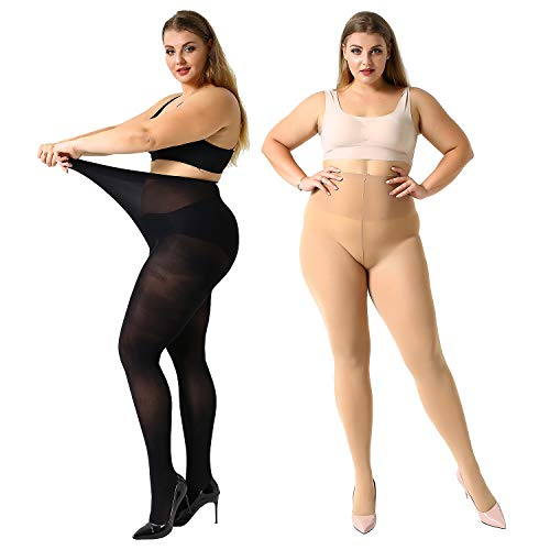 MANZI 2 Pairs Women's Control Top Plus Size Pantyhose High Waist Opaque Tights