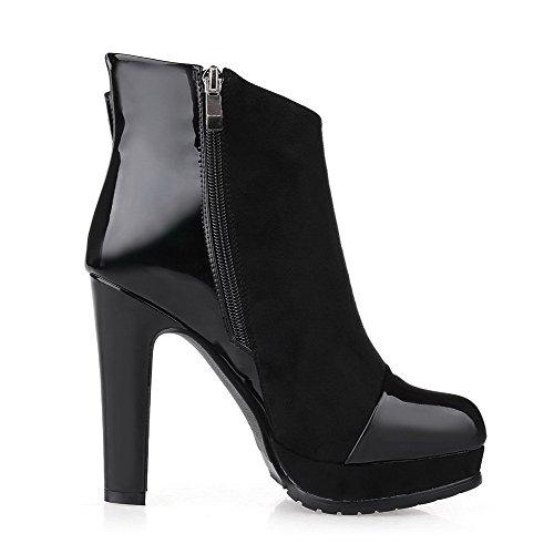 Allhqfashion Dames Pu Frosted Hoge Hakken Laarzen Met Gesp En Platform Zwart